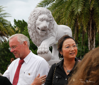 Wolfgang and Miki Schau and One of Their Lions